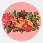 Cupid pasado de moda de la tarjeta del día de San Etiquetas Redondas
