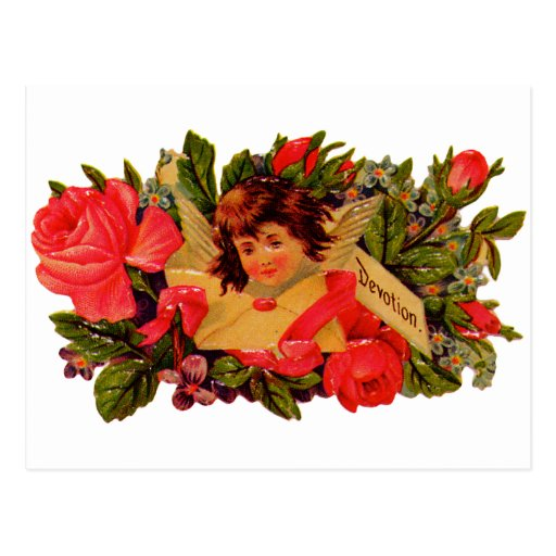 Cupid pasado de moda de la tarjeta del día de San  Postal