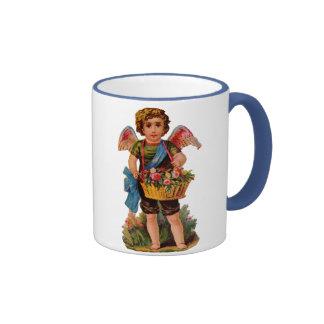 Cupid pasado de moda de la tarjeta del día de San  Tazas De Café