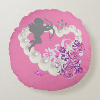 Cupid Pearls Floral Heart Pink Round Pillow