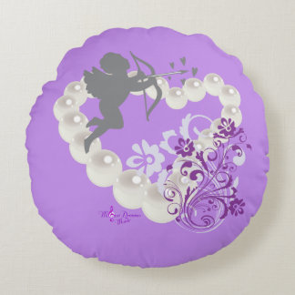 Cupid Pearls Floral Heart Purple 2 Round Pillow