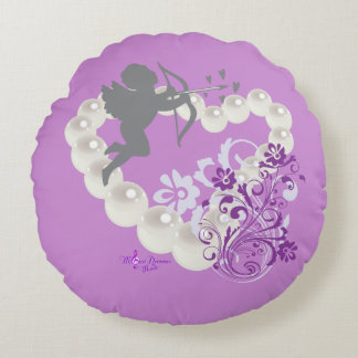 Cupid Pearls Floral Heart Purple Round Pillow