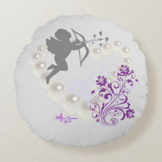 Cupid Pearls Floral Heart Silver Gray Round Pillow