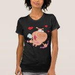 Cupid Pig Flying WithThree Red Hearts T-shirts