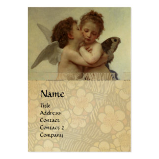 Cupid & Psyche as Children MONOGRAM Sapphire Gold Large Business Cards (Pack Of 100)