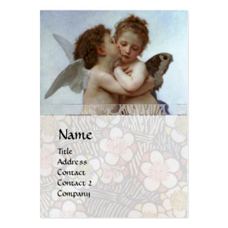 Cupid & Psyche as Children MONOGRAM Sapphire Pearl Large Business Cards (Pack Of 100)