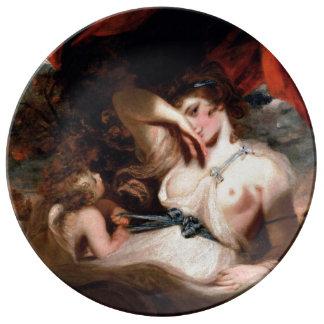 Cupid que desata la zona de Venus Platos De Cerámica
