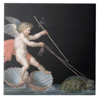Cupid que es llevado por las tortugas (aceite en e azulejos ceramicos