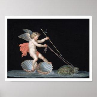 Cupid que es llevado por las tortugas (aceite en e póster
