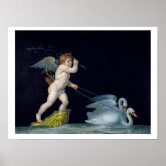 Cupid que es llevado por un par de los cisnes (ace póster
