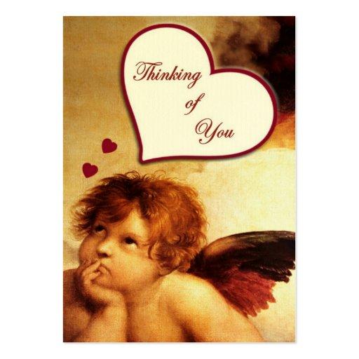 Cupid que piensa en usted etiqueta del regalo tarjetas de visita grandes
