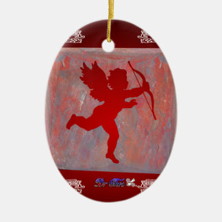 CUPID RED CUSTOMIZABLE PRODUCTS Double-Sided OVAL CERAMIC CHRISTMAS ORNAMENT