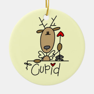 Cupid Reindeer Christmas Tshirts and Gifts Double-Sided Ceramic Round Christmas Ornament