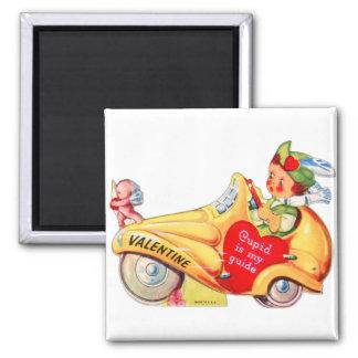 Cupid retro de la tarjeta del día de San Valentín  Imán Cuadrado