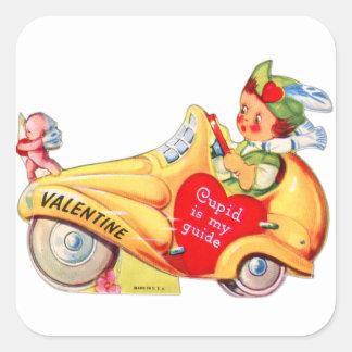 Cupid retro de la tarjeta del día de San Valentín Pegatina Cuadrada