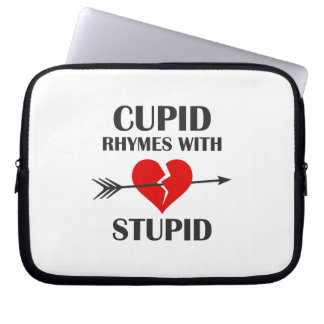 Cupid Rhymes With Stupid Valentines Day Computer Sleeve
