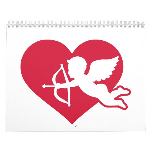 Cupid rojo del ángel del corazón calendarios