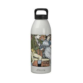 Cupid romántico de la mujer del hombre de escena d botella de agua