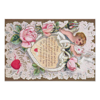 Cupid Roses Rose Dove Heart Arrow Poster