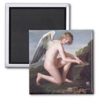 Cupid sharpening his arrows, 1798 (oil on canvas) 2 inch square magnet