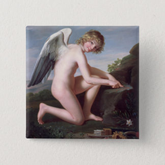 Cupid sharpening his arrows, 1798 (oil on canvas) pinback button