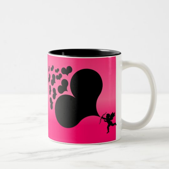 Cupid Shooting Hearts Two-Tone Coffee Mug