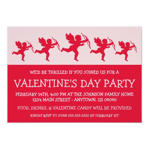 Cupid Silhouette Valetine's Day (Red) 5x7 Paper Invitation Card