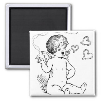 Cupid Smoking Giftware 2 Inch Square Magnet