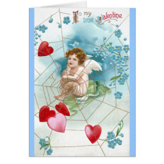 Cupid Snaring Hearts in Web Valentine Card