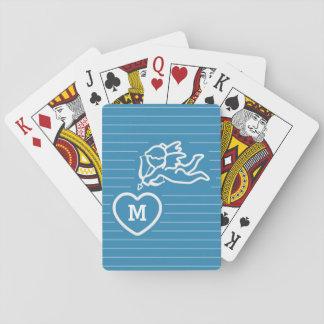 Cupid Strikes custom monogram playing cards