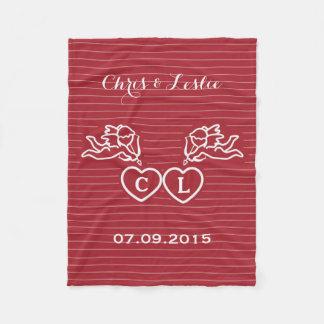CUPID STRIKES custom text & color fleece blanket