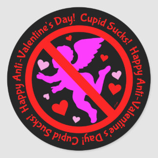 Cupid Sucks Happy Anti Valentine's Day Classic Round Sticker