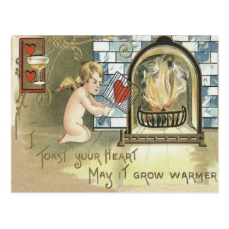 Cupid Toast Heart Fireplace Postcard