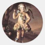 Cupid travieso del vintage que señala su dedo pegatina redonda
