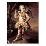 Cupid travieso del vintage que señala su dedo postal