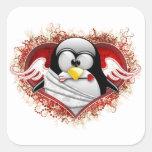 Cupid Tux de la tarjeta del día de San Valentín Pegatina Cuadrada