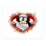 Cupid Tux de la tarjeta del día de San Valentín Postal
