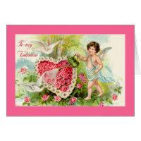 Cupid Valentine Pink Roses Card