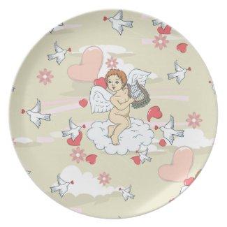 Cupid Valentine plate