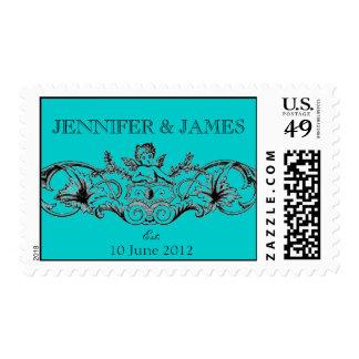 Cupid Wedding Logo Postage Stamps Aqua