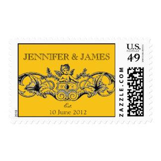 Cupid Wedding Logo Postage Stamps Yellow