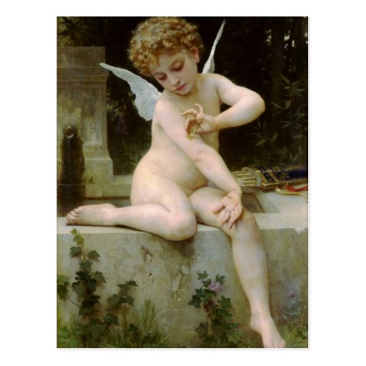 Cupid With a Butterfly by William Bouguereau Post Cards