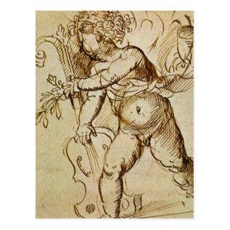 Cupid with a Violin by Campagnola, Renaissance Art Postcard