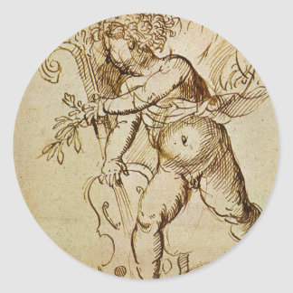 Cupid with a Violin by Campagnola, Renaissance Art Sticker