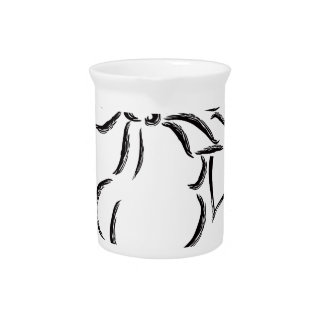 Cupid with Bow and Arrow Ink Brush Illustration Beverage Pitcher