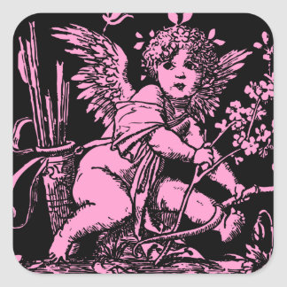 Cupid with Bow and Arrows Vintage Print Square Sticker