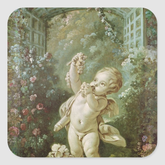 Cupid with Grapes Square Sticker
