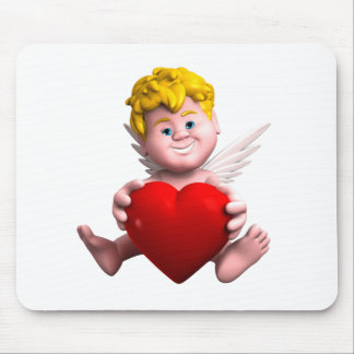 Cupid with heart mouse pad