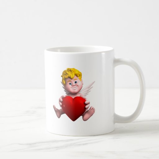 Cupid with heart mugs