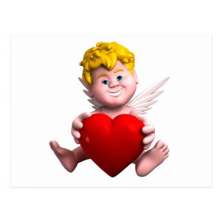 Cupid with heart postcard